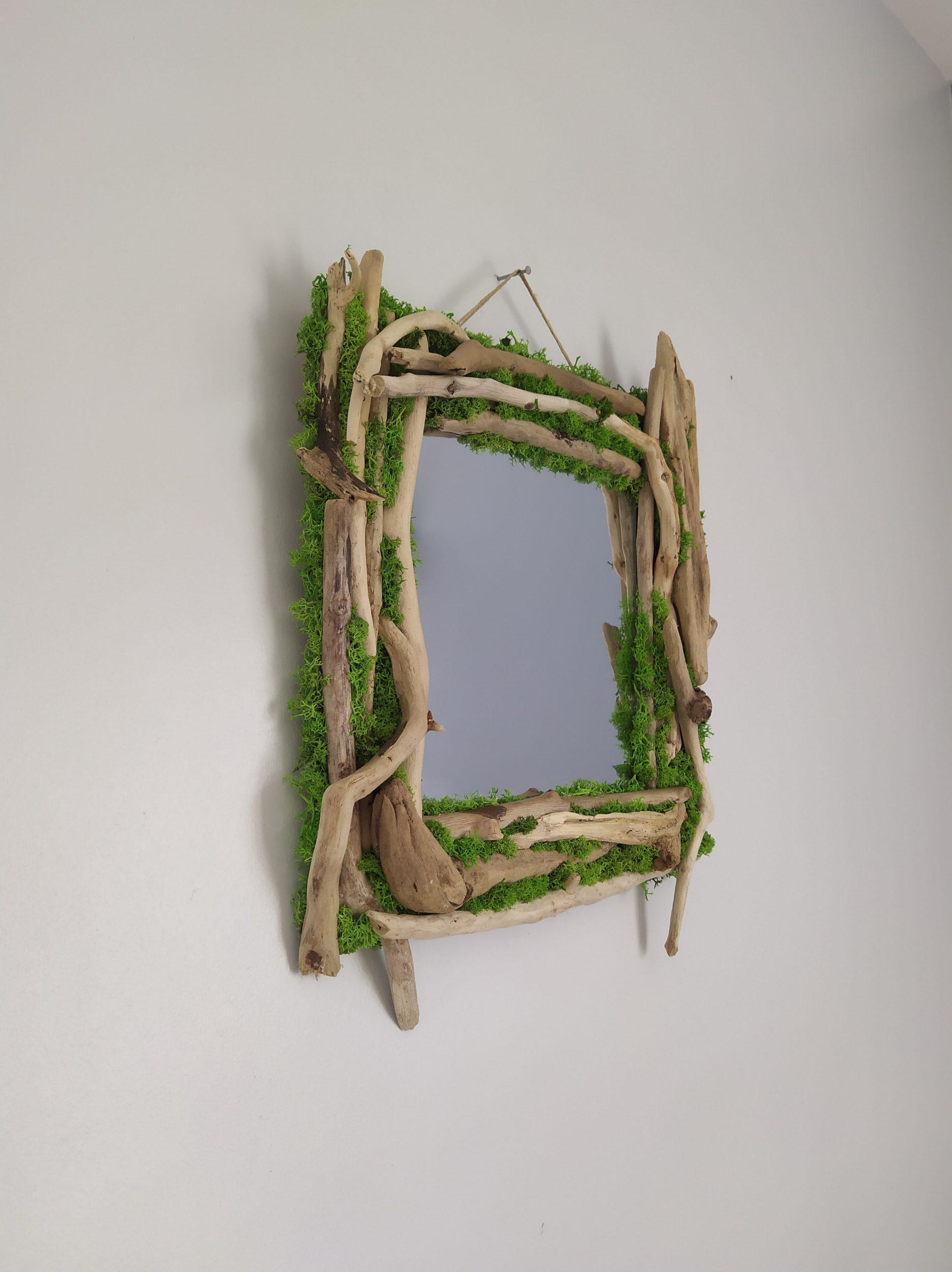 Miroir végétalisé en bois flotté